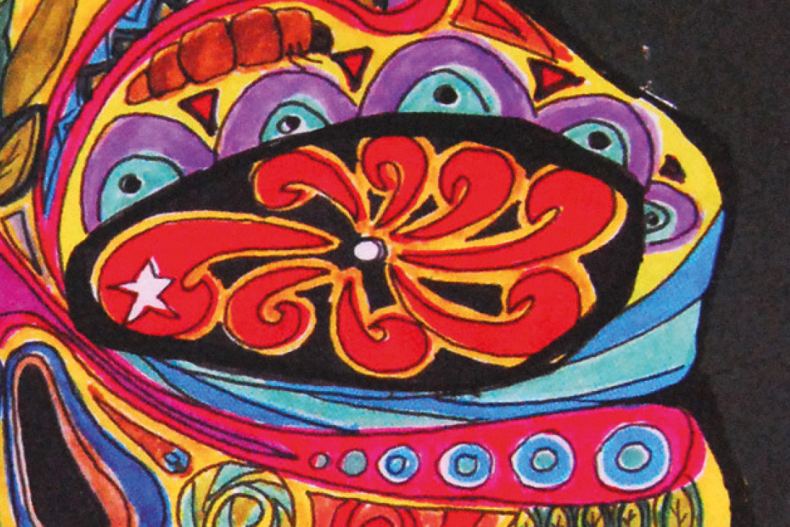 Close-up of colourful pattern details of a hand drawn Mexican mask on a black menu, for Chamucos Bar, illustrated by SAINT Design.