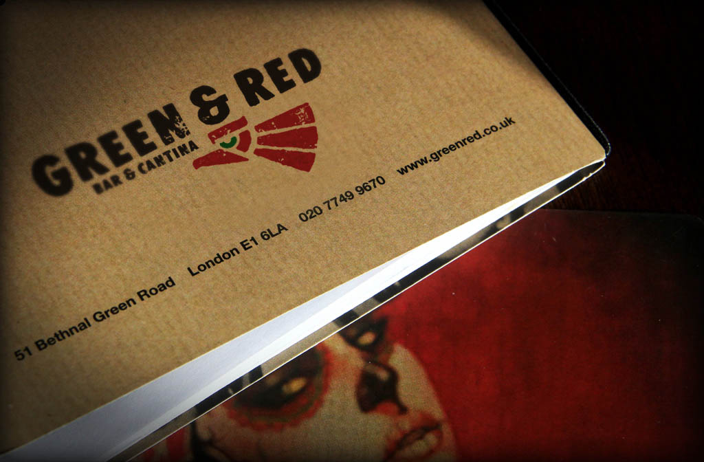A close up shot of a menu for Green and Red restaurant