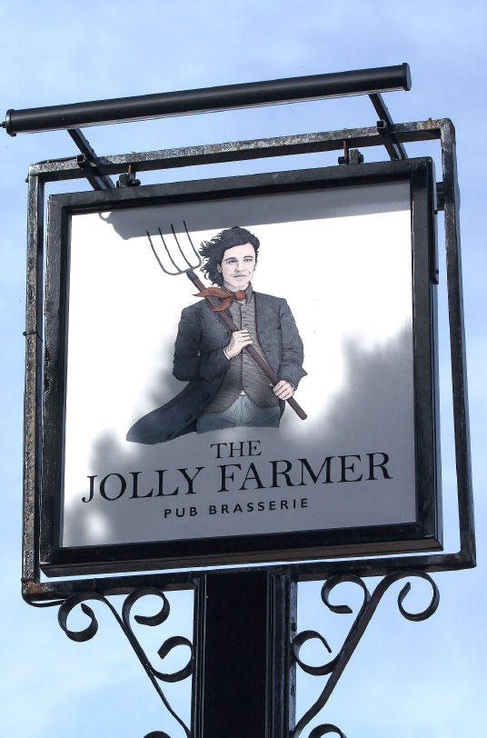 Pub swing sign for The Jolly Farmer by Saint Design