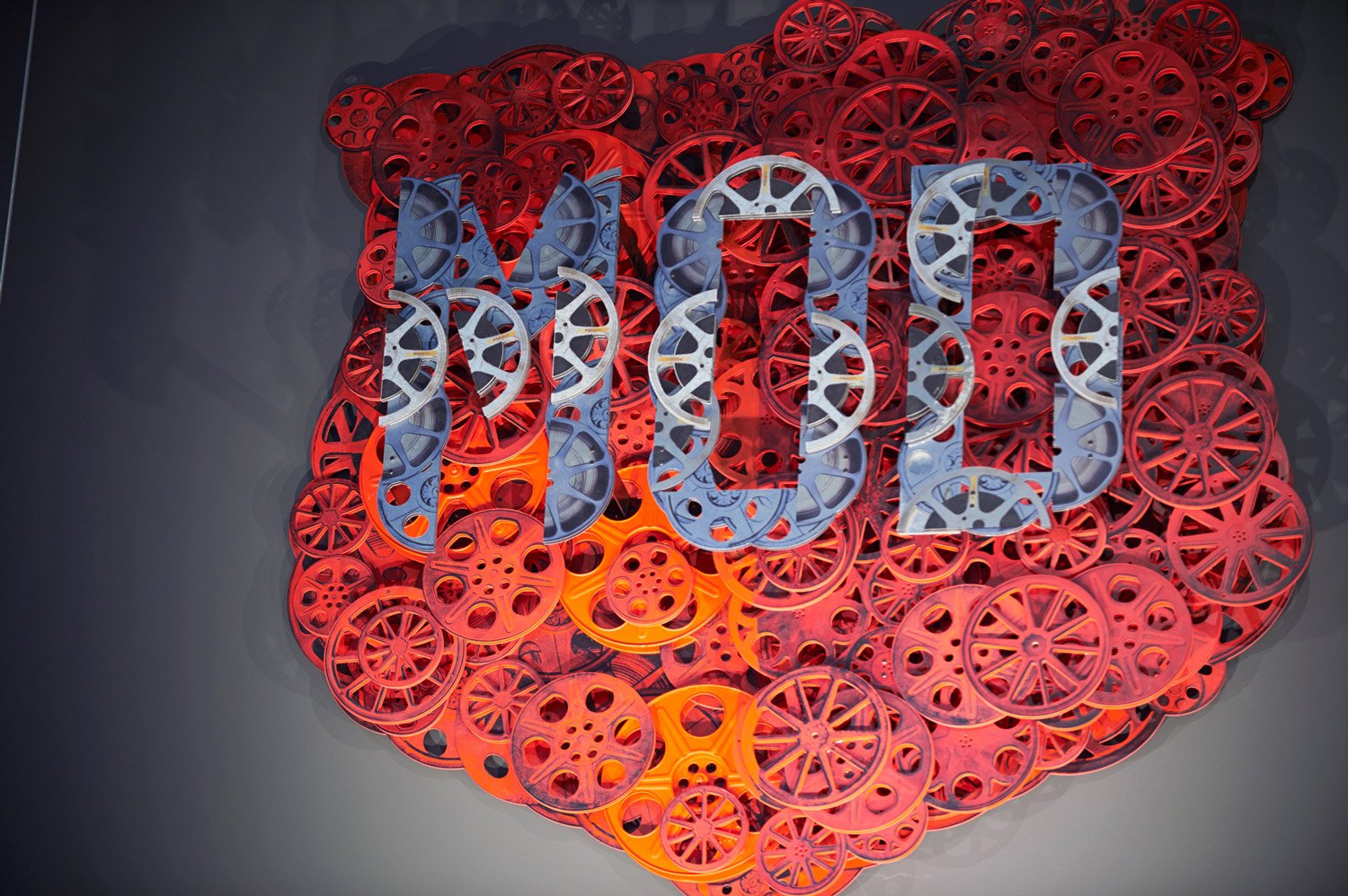 The MOD logo constructed from old film reels