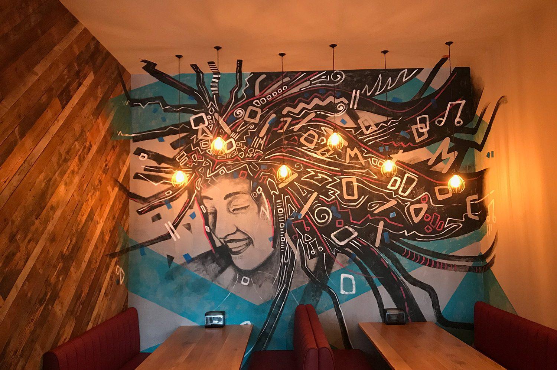 Interior wall art shot in restaurant