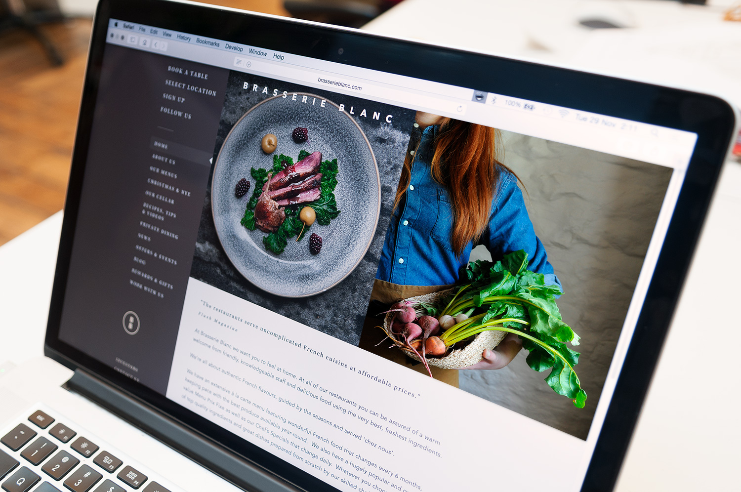 Responsive website for Brasserie Blanc by Saint Design