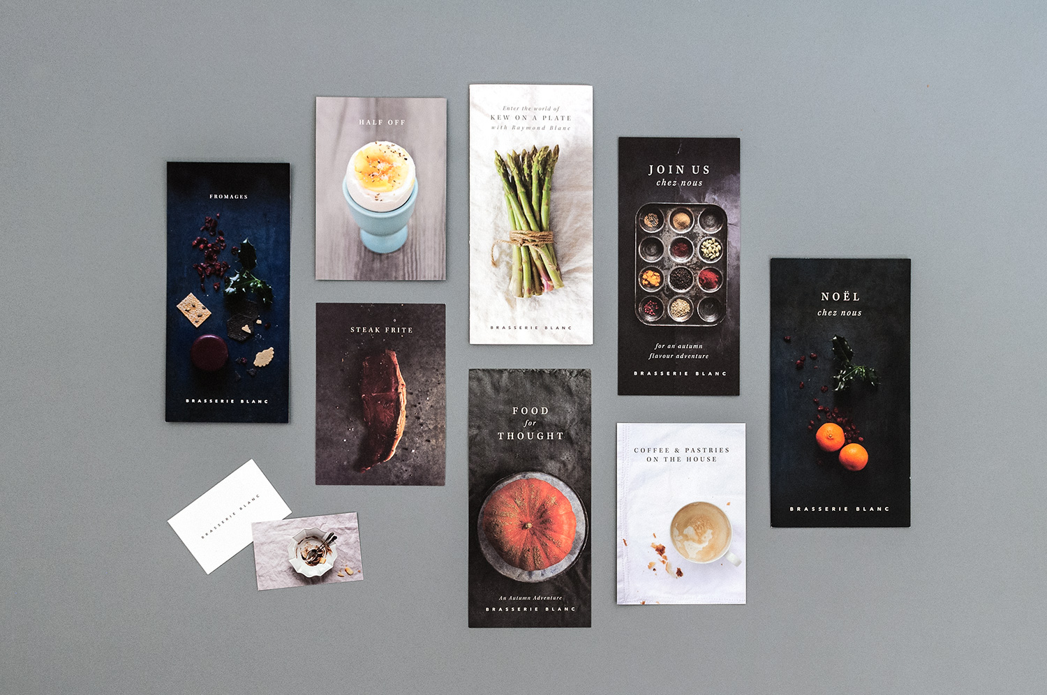Menu and collateral design for Brasserie Blanc by Saint Design