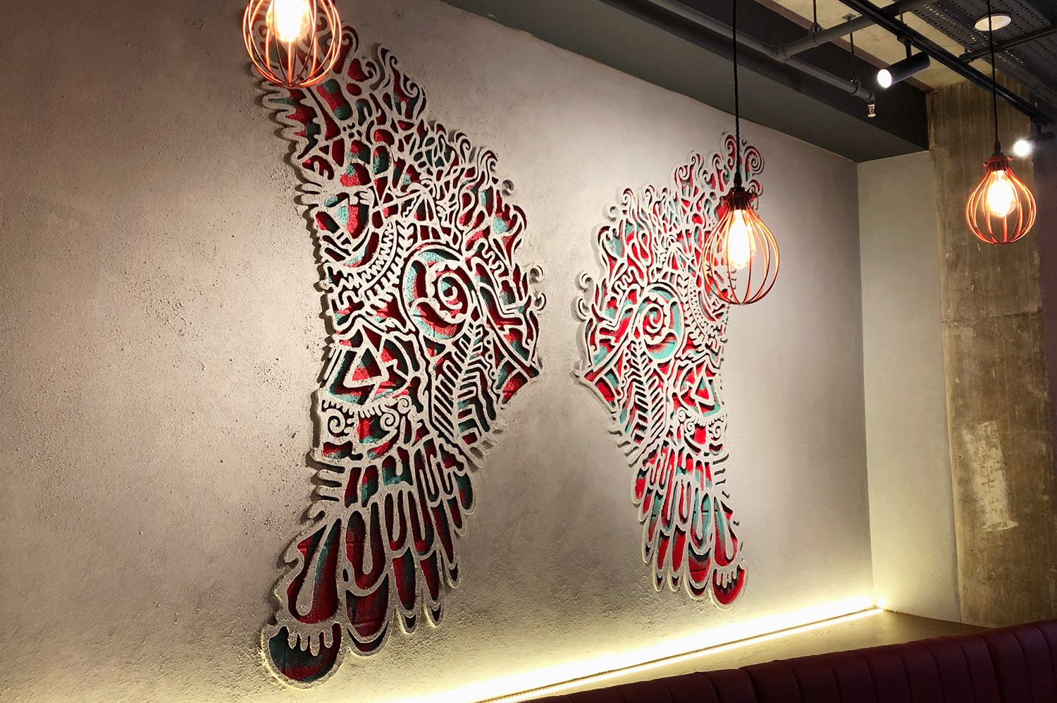 Interior wall art and illustration for Mod Pizza by Saint Design