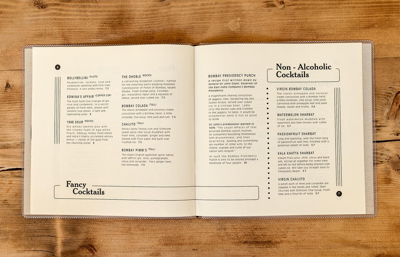 Menu design for Dishoom Carnaby by Saint Design