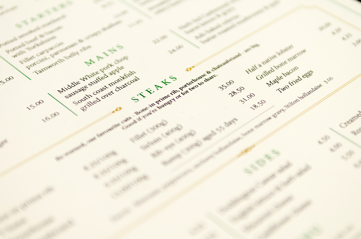 Menu suite and marketing collateral for Hawksmoor Borough by Saint Design