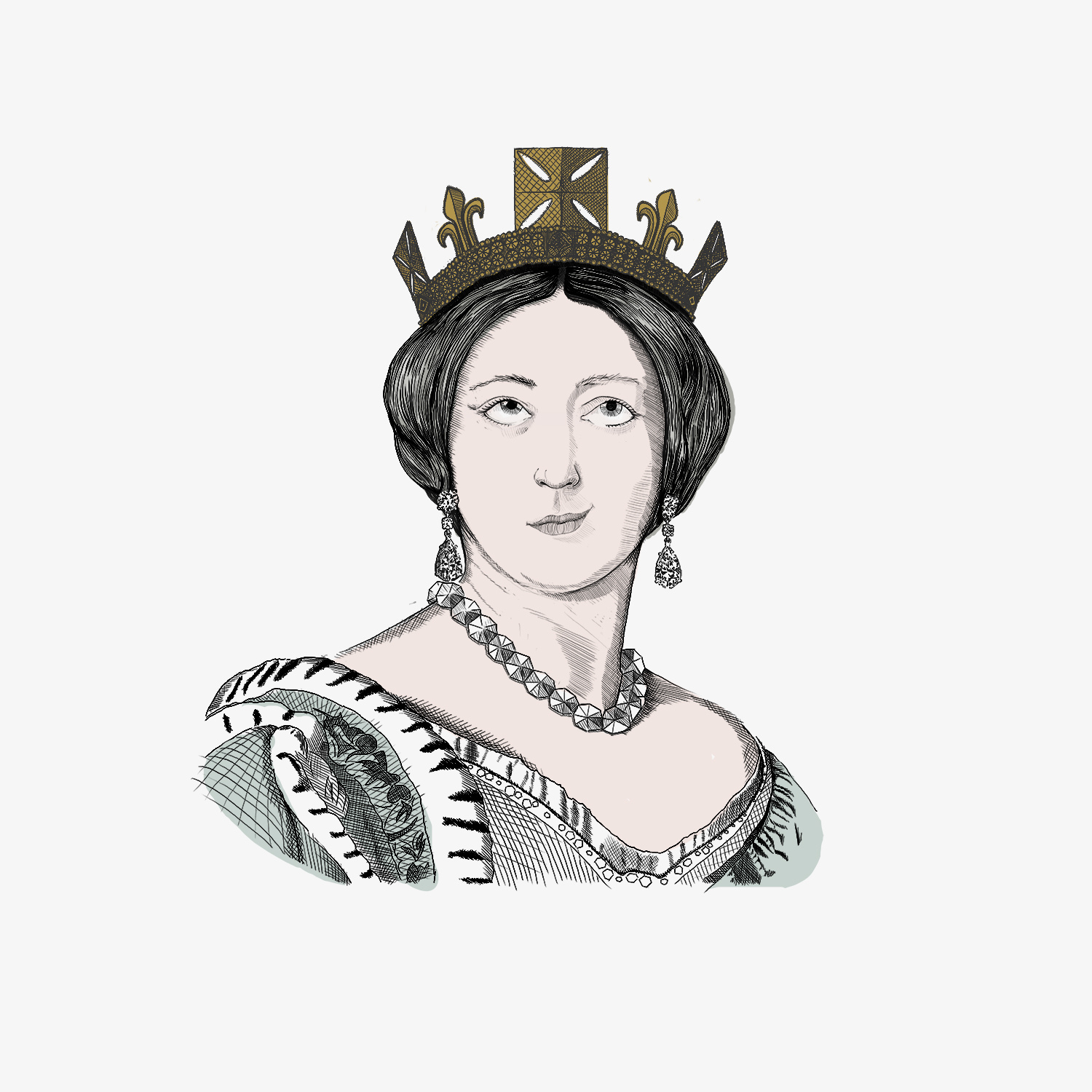 Hand drawn illustration of a young Queen Victoria