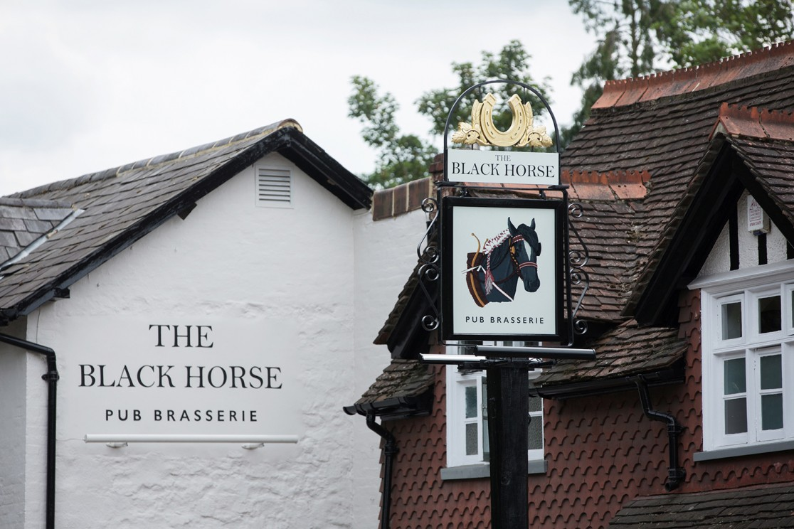 Pub swing sign for The Black Horse by Saint Design