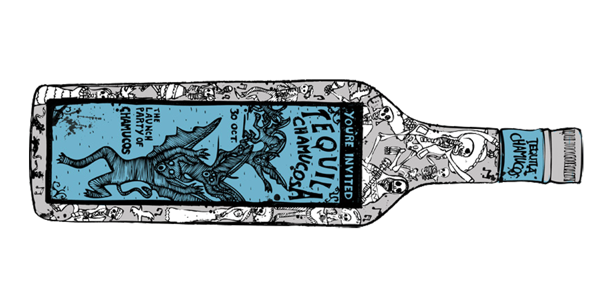 Hand drawn illustration of a tequila bottle for Chamucos Bar, illustrated by SAINT Design.