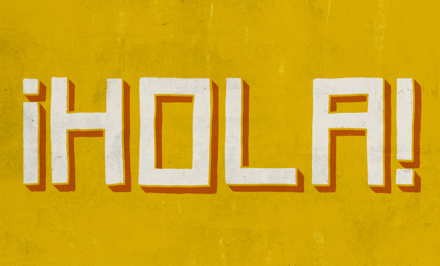 Typography design of the word hola hand drawn in white on a yellow background, for Tejo Social, by SAINT Design.
