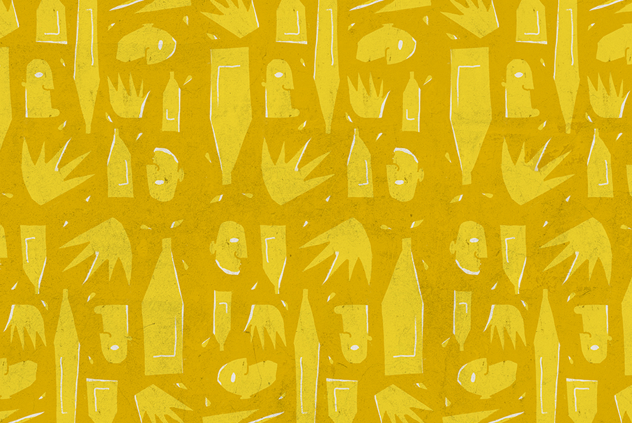Abstract pattern illustration of beer bottles, hands and faces in two shades of yellow, for Tejo Social, by SAINT Design.