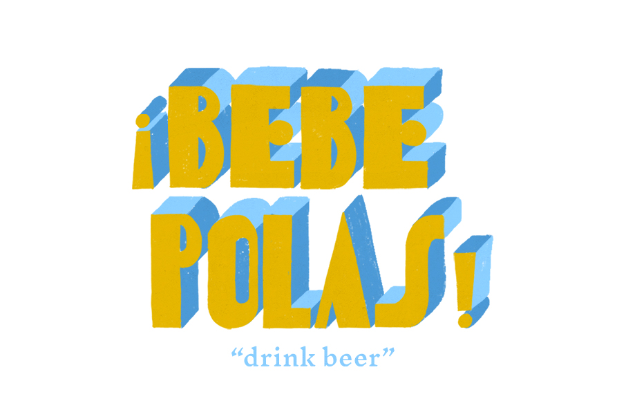 3D typography design of the words bebe polas hand drawn in yellow and blue, for Tejo Social, by SAINT Design.