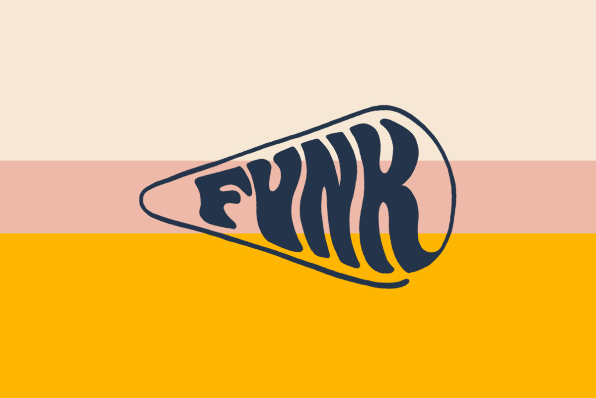 Hand drawn wordmark design in navy for a cheese shop called Funk on a striped 70s inspired background, by SAINT Design.