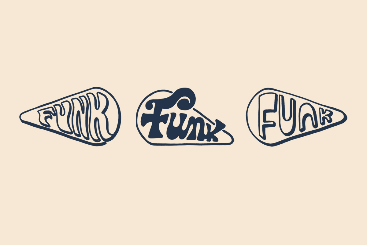 Layout of wordmark options and work in progress of branding design for Funk, a cheese bar, all 70s inspired typography within a cheese slice, by SAINT Design.