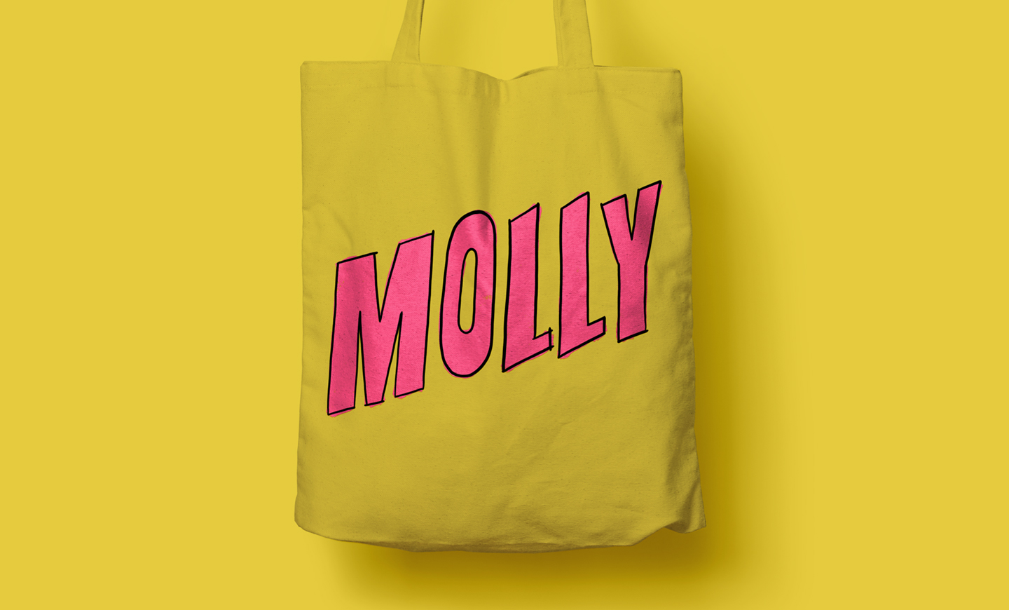 Bright yellow tote bag with the word