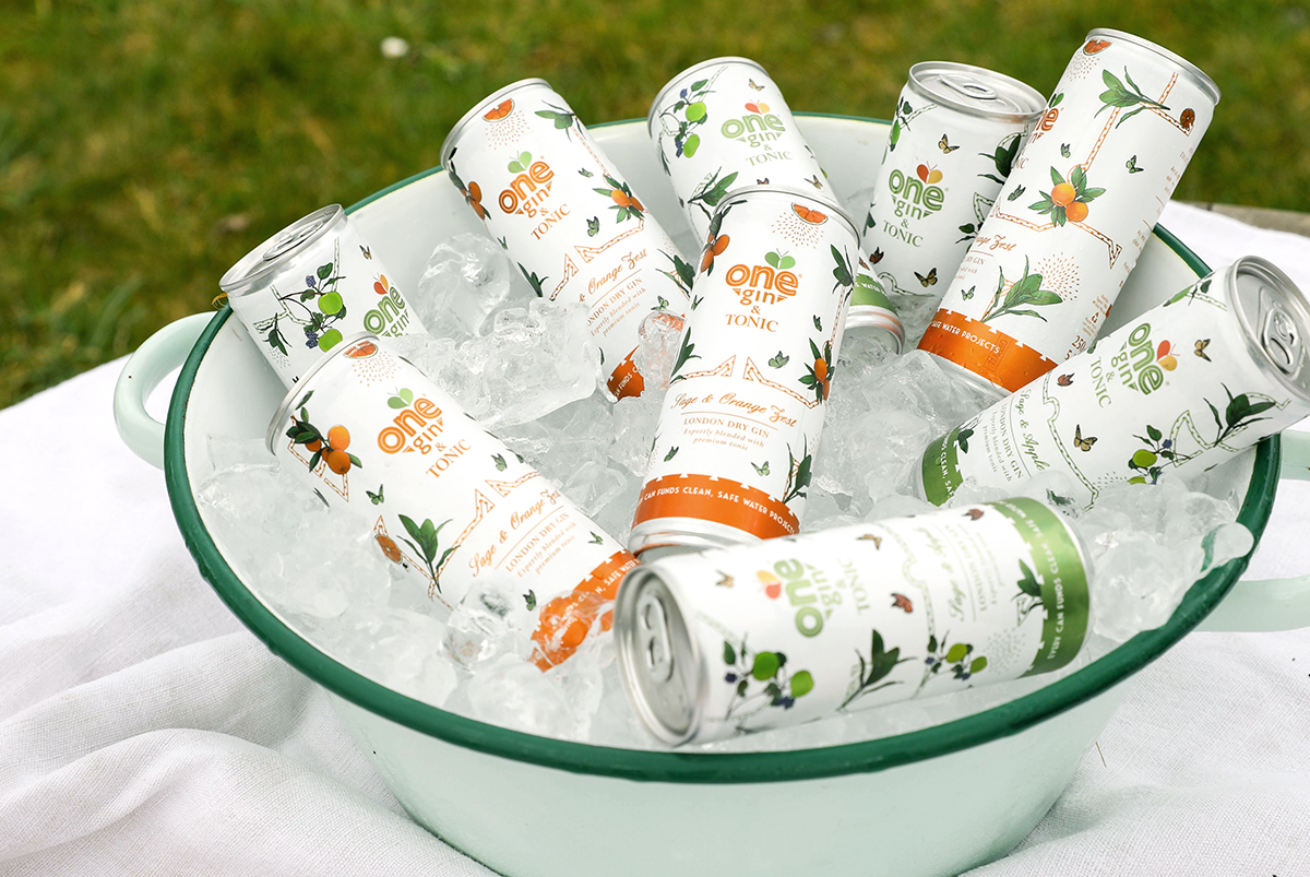 Photograph of several ready to drink gin and tonic cans inside a large sage coloured bowl full of ice, packaging designed for One Gin by SAINT Design.