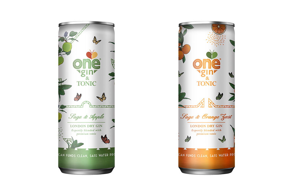 Pack shot of two ready to drink gin and tonic cans, designed with a white background and hints of green metallic line details on the one and orange on the other, also with apple and illustrations that match the flavours, designed for One Gin by SAINT Design.