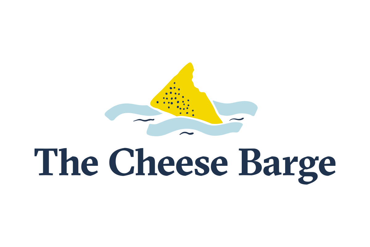 Logo design for The Cheese Barge, the icon above the letting is in a simple flat illustration style and is of a piece of cheese floating in water, by SAINT Design.